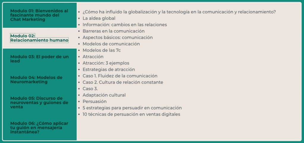 Neuroventas para Chat Marketing Modulo 2